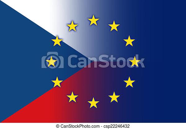 Czech Republic And EU Flag