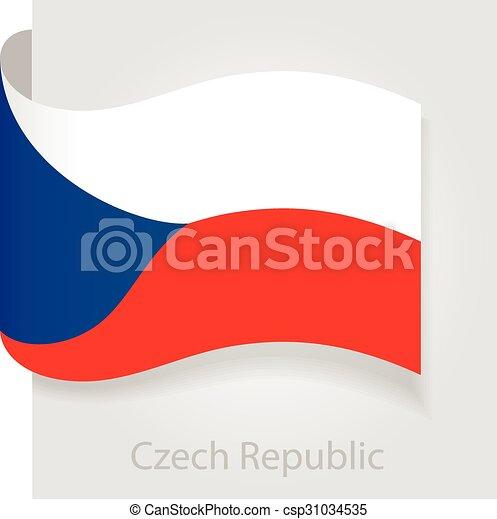 Czech Republic flag, vector illustration - csp31034535