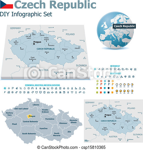Czech Republic maps with markers - csp15810365