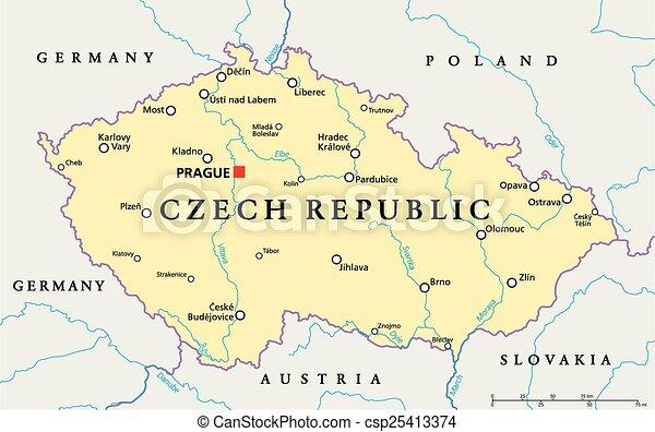 Czech republic political map with capital prague, national borders ...