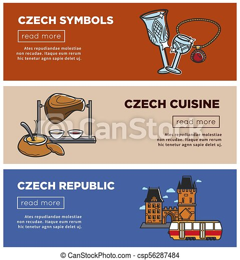Czech Republic Vector Banners Of Sightseeing Symbols And Prague