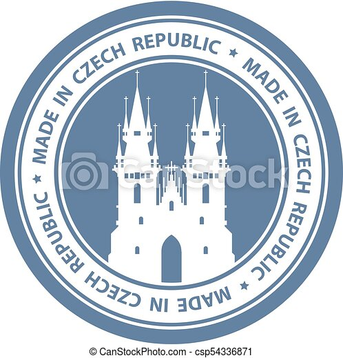 Czech Travel Stamp With Prague Symbol Church Of Our Lady