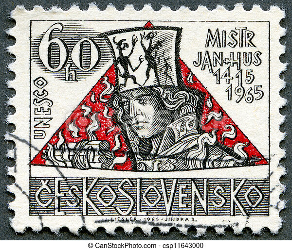 CZECHOSLOVAKIA - CIRCA 1965: A stamp printed in Czechoslovakia shows Jan Hus, the 550th anniversary of the death of Hus (1369-1415), religious reformer, circa 1965 - csp11643000