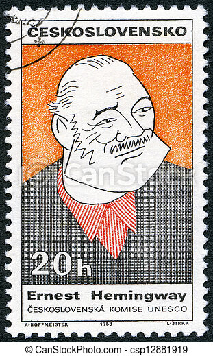 CZECHOSLOVAKIA - CIRCA 1968: A stamp printed in Czechoslovakia shows portrait of Ernest Hemingway (1899-1961), series Cultural personalities of the 20th centenary and UNESCO, circa 1968 - csp12881919