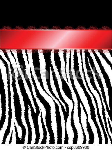 czerwony, pasy, zebra, wstążka, & - csp8609980
