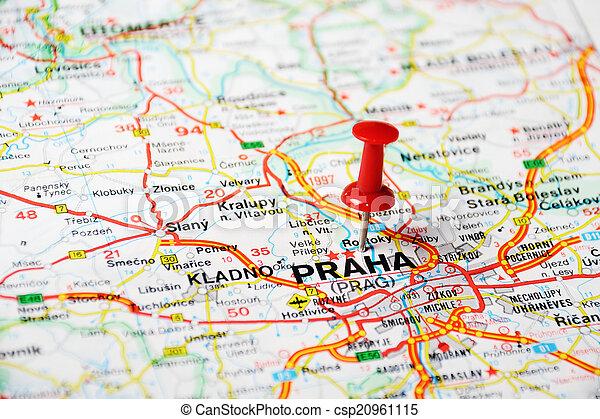 Czeski Mapa Republika Praga Mapa Pojecie Szpilka Czeski