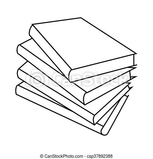 Cztery Ikona Styl Książki Szkic Styl Szkic Symbol Odizolowany Cztery Tło Książki Biały Czytanie Ikona Canstock
