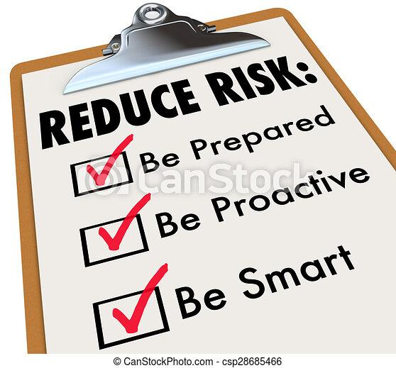 czuć się, ryzyko, checklist, redukować, gotowy, clipboard, mądry, proactive - csp28685466