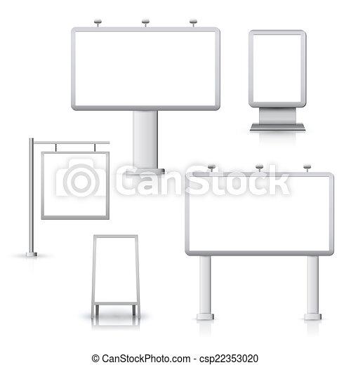 czysty, deski, reklama - csp22353020