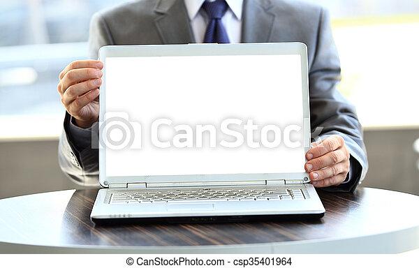 czysty, laptop, ekran - csp35401964