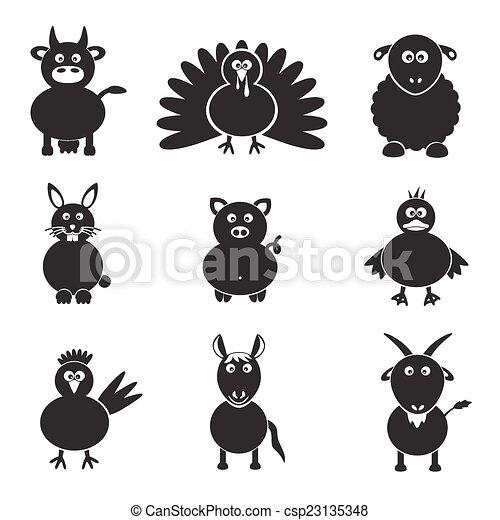 dát, živočichy, ikona, farma, jednoduchý, eps10 - csp23135348