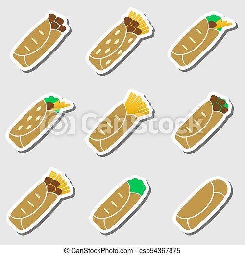 dát, eps10, barva, strava, tortilla, prasečkář - csp54367875