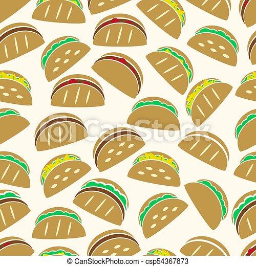 dát, eps10, ikona, barva, model, seamless, tacos, strava, tortilla - csp54367873