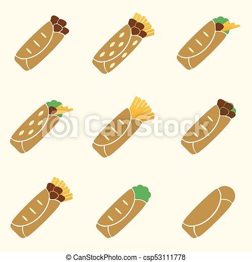 dát, eps10, ikona, barva, strava, tortilla - csp53111778
