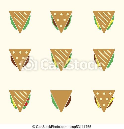 dát, eps10, ikona, barva, tacos, strava, sendvič, tortilla, nebo - csp53111765