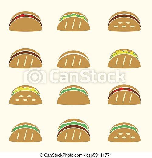 dát, eps10, ikona, barva, tacos, strava, tortilla - csp53111771