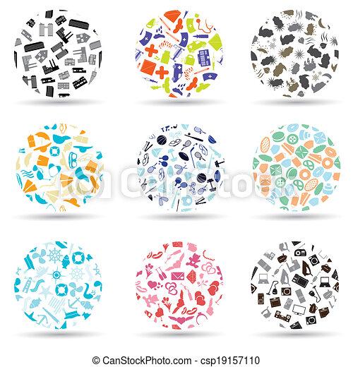 dát, eps10, ikona, model, rozmanitý, kruh - csp19157110