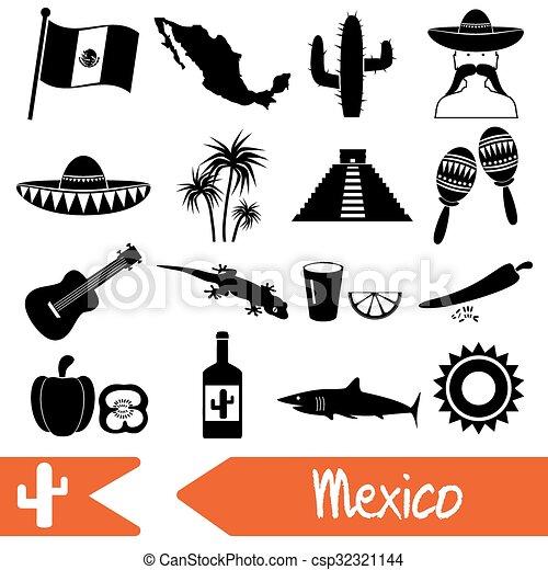 dát, eps10, mexiko, země, ikona, symbol, námět - csp32321144