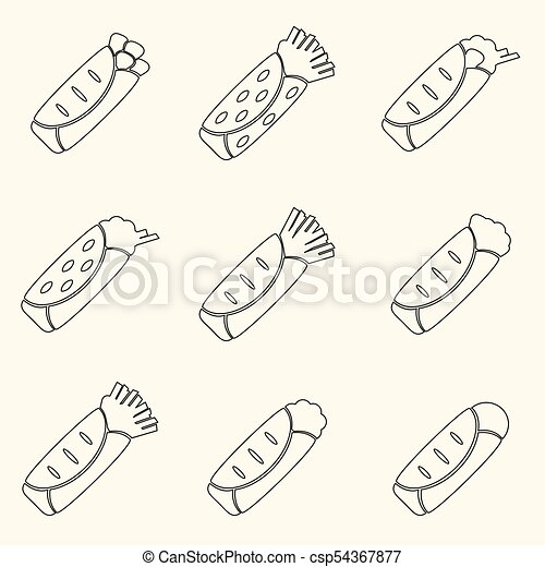 dát, eps10, nárys, ikona, strava, tortilla - csp54367877