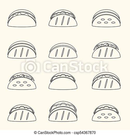 dát, eps10, nárys, ikona, strava, tacos, tortilla - csp54367870