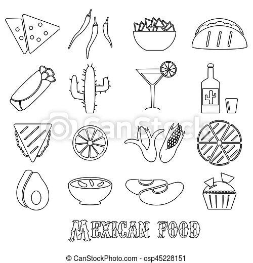 dát, mexičan, nárys, ikona, strava, jednoduchý, námět, eps10 - csp45228151