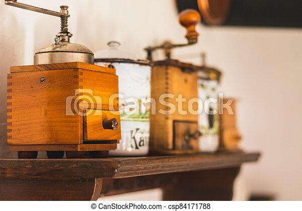 dávný, nádoba, zrnková káva, cukr, stolička, rukopis - csp84171788