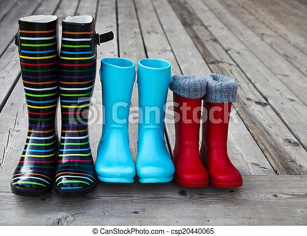déšť, pářit se, tři, barvitý, sluha - csp20440065