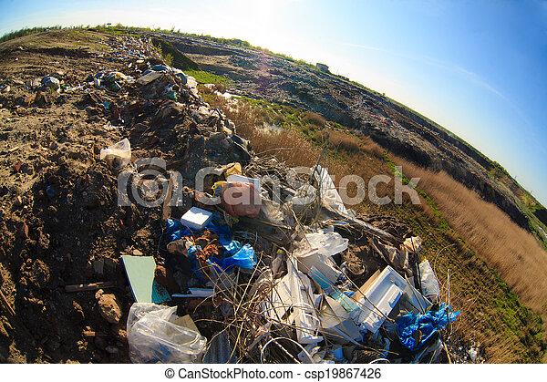 décharge, déchets, plastique, mise en décharge, tas, gaspillage, pollution - csp19867426