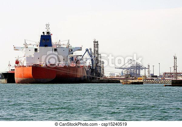 décharge, pétrolier, quai - csp15240519