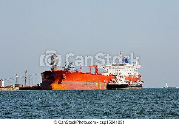décharge, pétrolier, quai - csp15241031
