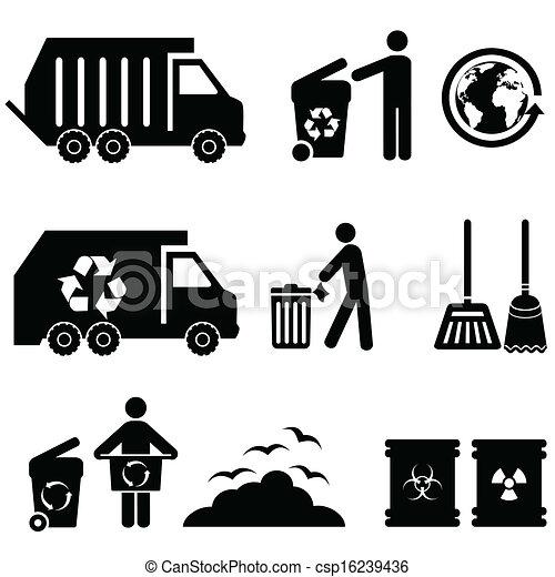 déchets ménagers, déchets, icônes - csp16239436
