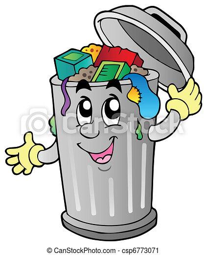 déchets ménagers, dessin animé, boîte - csp6773071