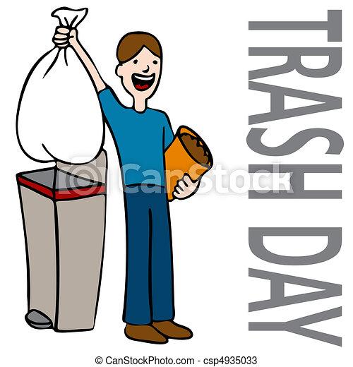 déchets ménagers, jour, homme - csp4935033