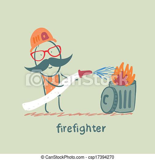 déchets ménagers, pompier, met, dehors - csp17394270