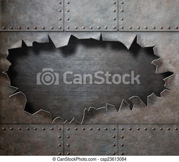 déchiré, métal, trou, fond, vapeur, punk, armure, endommagé - csp23613084