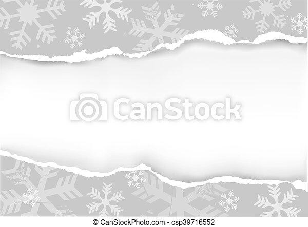 déchiré, papier, gris, noël - csp39716552