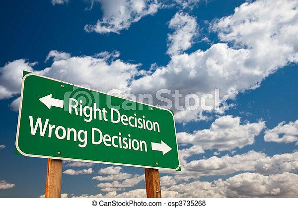 décision, décision, signe, mal, droit, vert, route - csp3735268