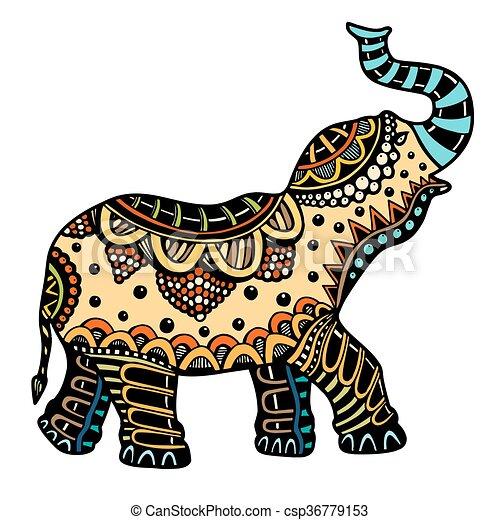 Décoré, Éléphant Indien. Tatouage, Vecteur, Couleur,  Clipart