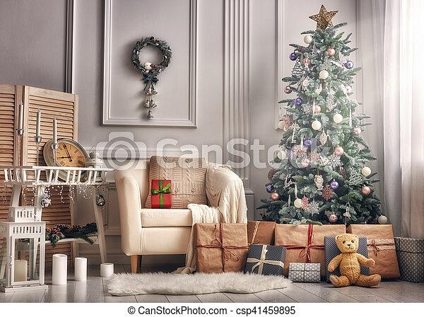 décoré, salle, noël - csp41459895