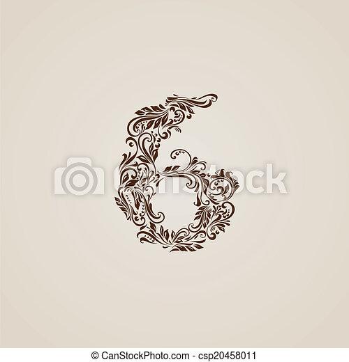 décoré, six, chiffre, beige - csp20458011