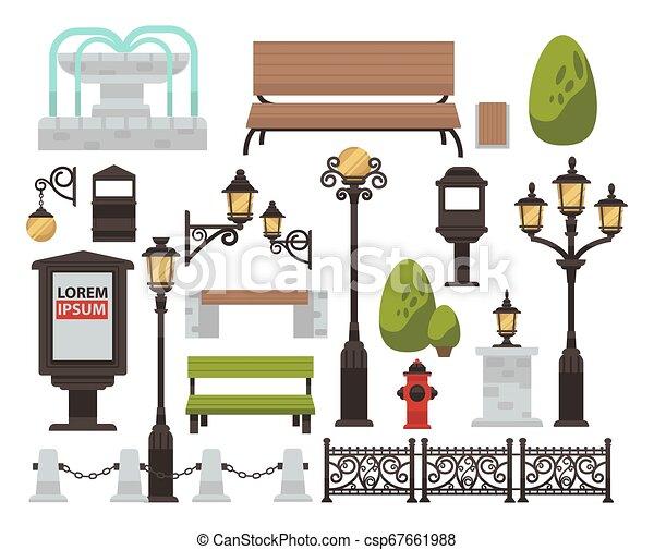 décor, extérieur, barrière, banc, buisson, rue, éclairage public - csp67661988