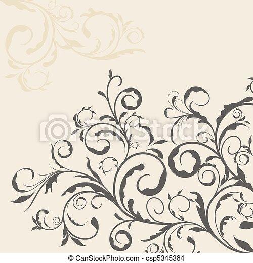 décor, illustration, élément, conception, frontière florale - csp5345384