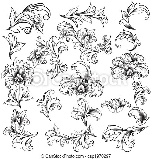 décoratif, éléments floraux, conception - csp1970297