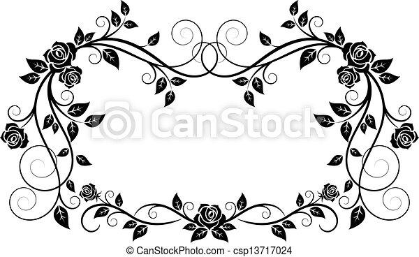 décoratif, cadre, fleurs, rose - csp13717024