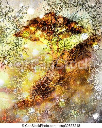 Clipart de d coratif collage papier peint arbre - Mandala paysage ...