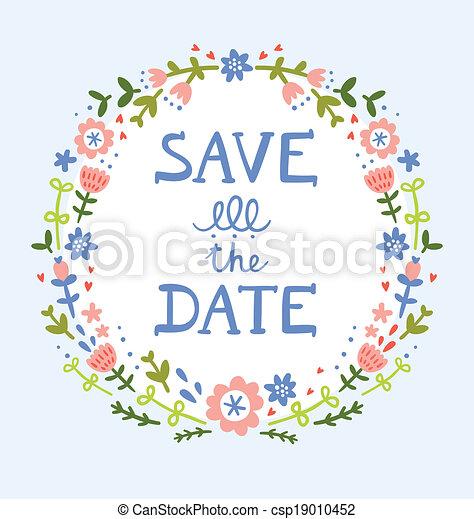 décoratif, couronne, date, floral, sauver, composition - csp19010452