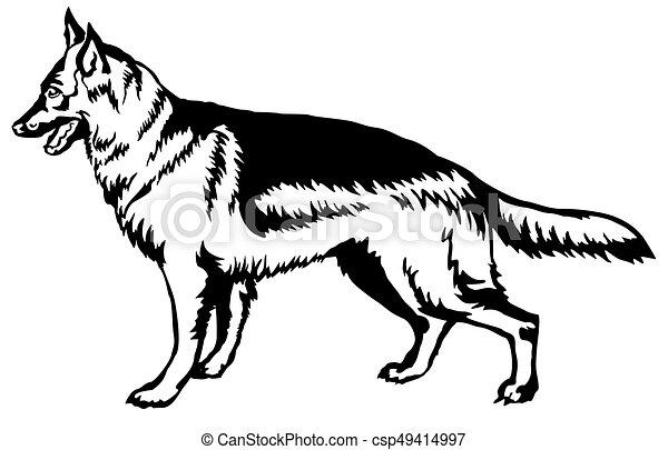 D coratif debout berger allemand chien illustration - Dessin de chien berger allemand ...