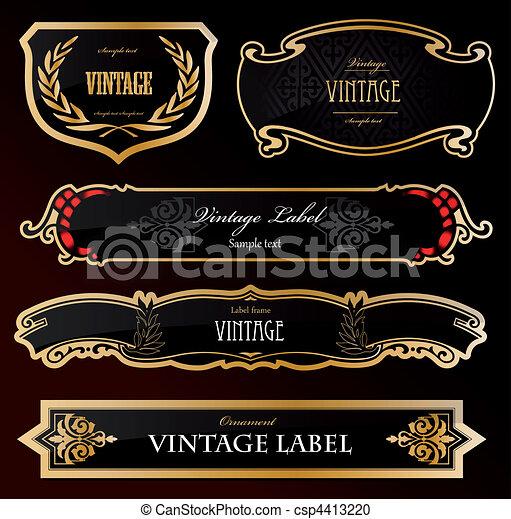 décoratif, doré, étiquettes, noir, vecteur - csp4413220