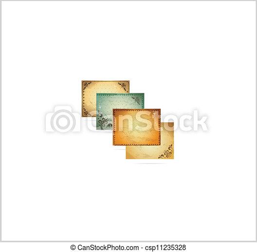 décoratif, ensemble, vendange, cadre, arrière-plans, symboles - csp11235328