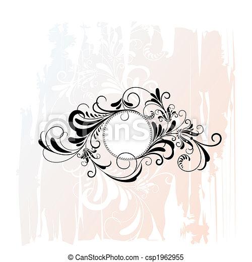 décoratif, floral, cercle, ornement - csp1962955